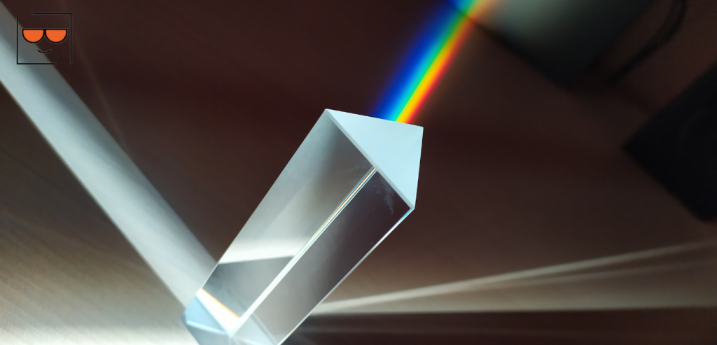 Light entering into a prism to reflect light as a rainbow