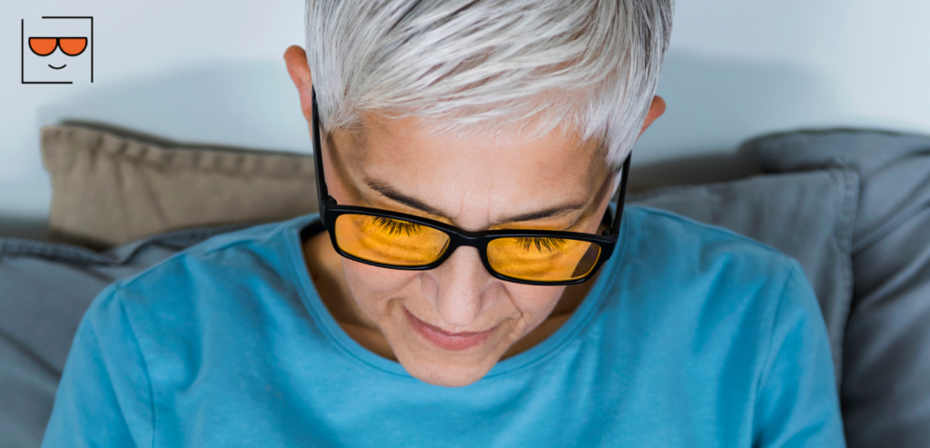 Woman with Blue light filter glasses